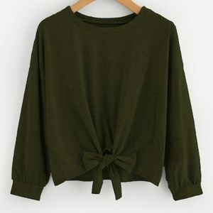 Tops - Army Green Bow Tie Sweatshirt